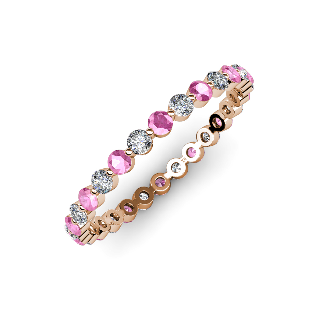 Diamond Amp Pink Sapphire Floating Diamond Eternity Band 0