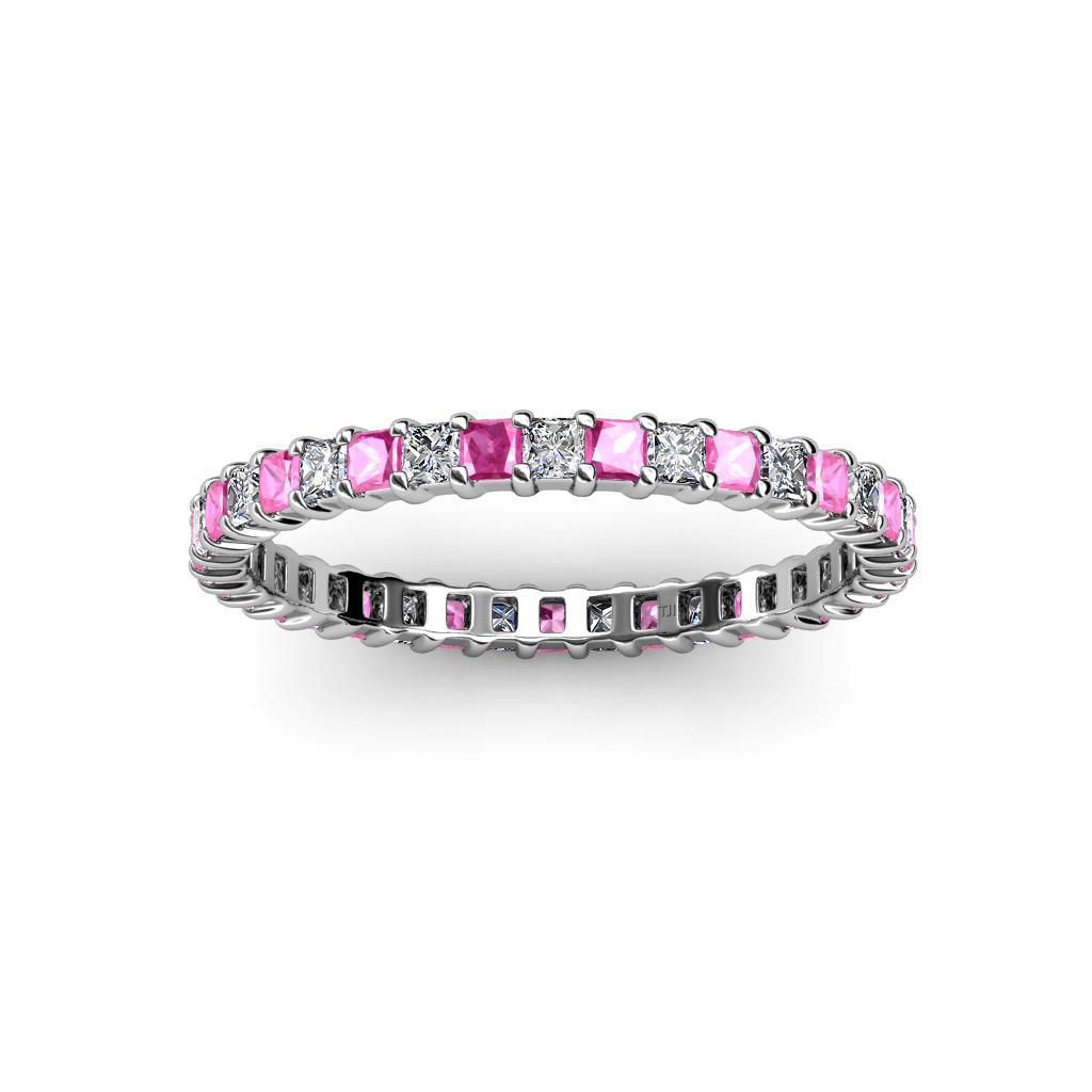 Pink Sapphire & Diamond Women Princess Cut Eternity Band ...