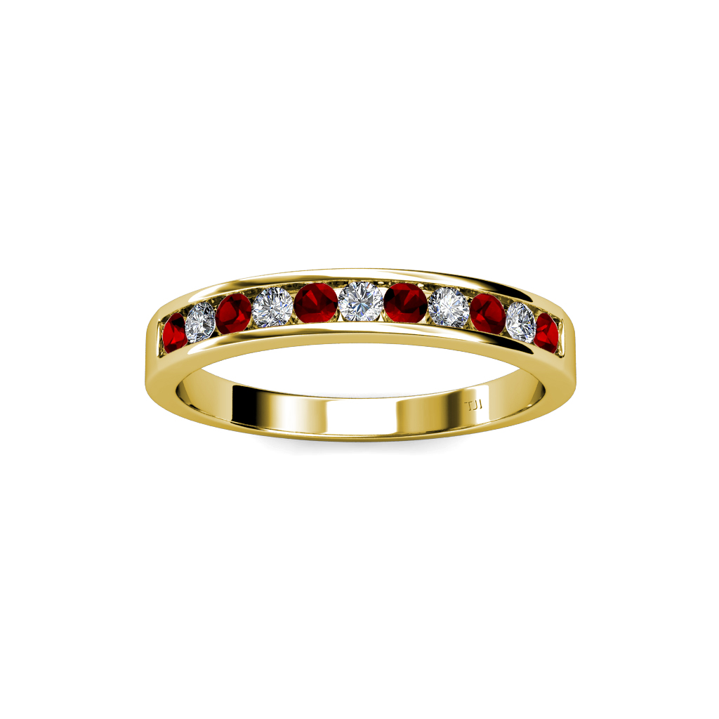 Garnet Ring Bands: Red Garnet And Diamond 11 Stone Channel Set Wedding Band 0