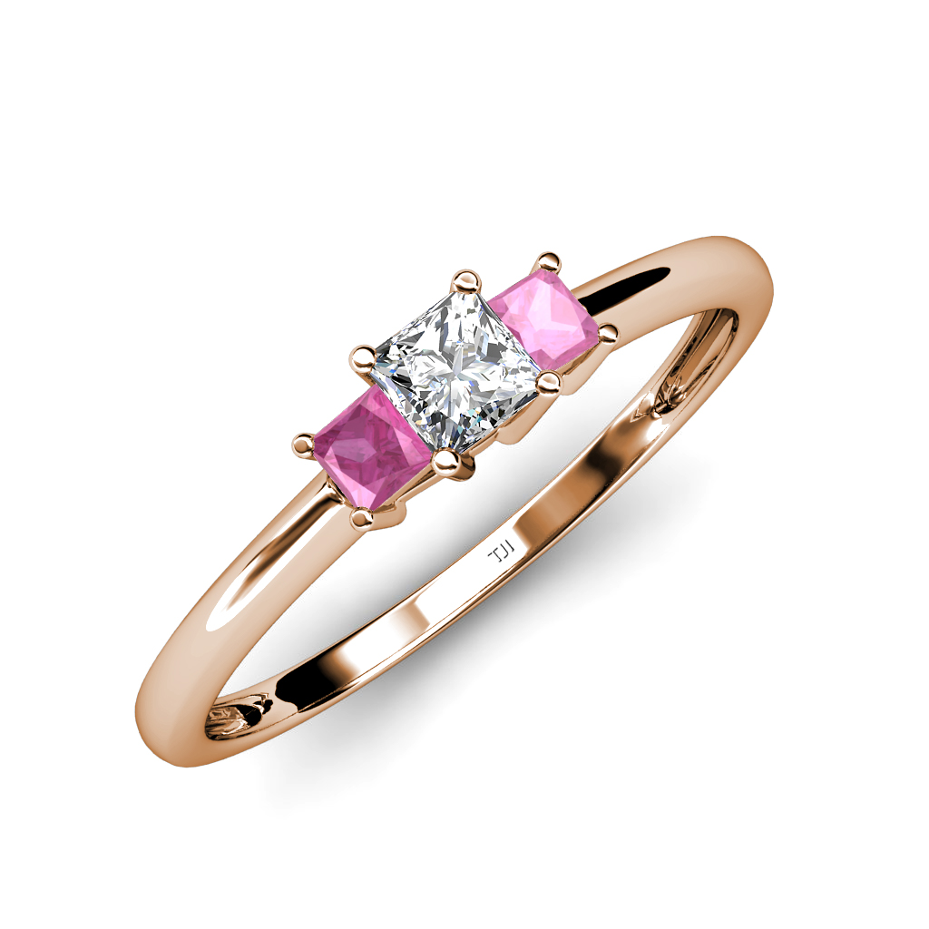 diamond pink sapphire princess cut 3 stone ring. Black Bedroom Furniture Sets. Home Design Ideas