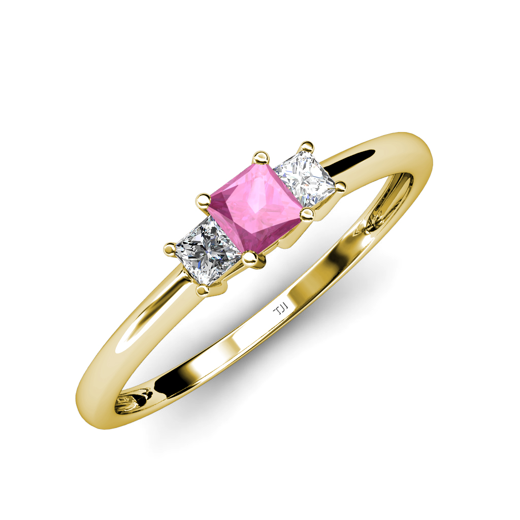 pink sapphire princess cut 3 ring 0 19 ct