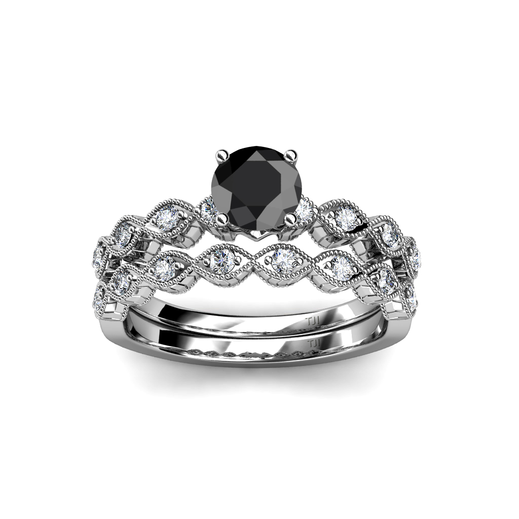 Black & White Diamond 4 Prong Swirl Bridal Set Ring & Wedding Band in