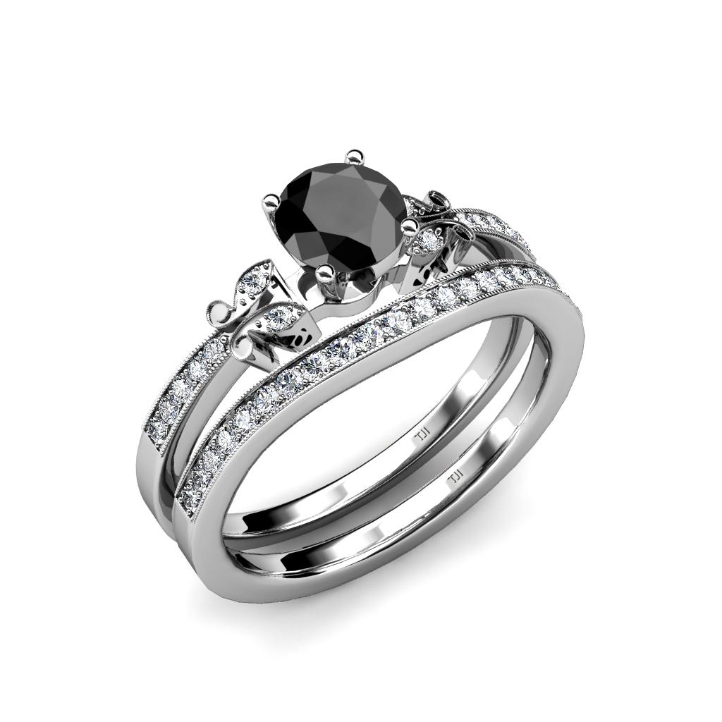 Black White Diamond 4 Prong Milgrain Bridal Set Ring Wedding Band 14k Gold