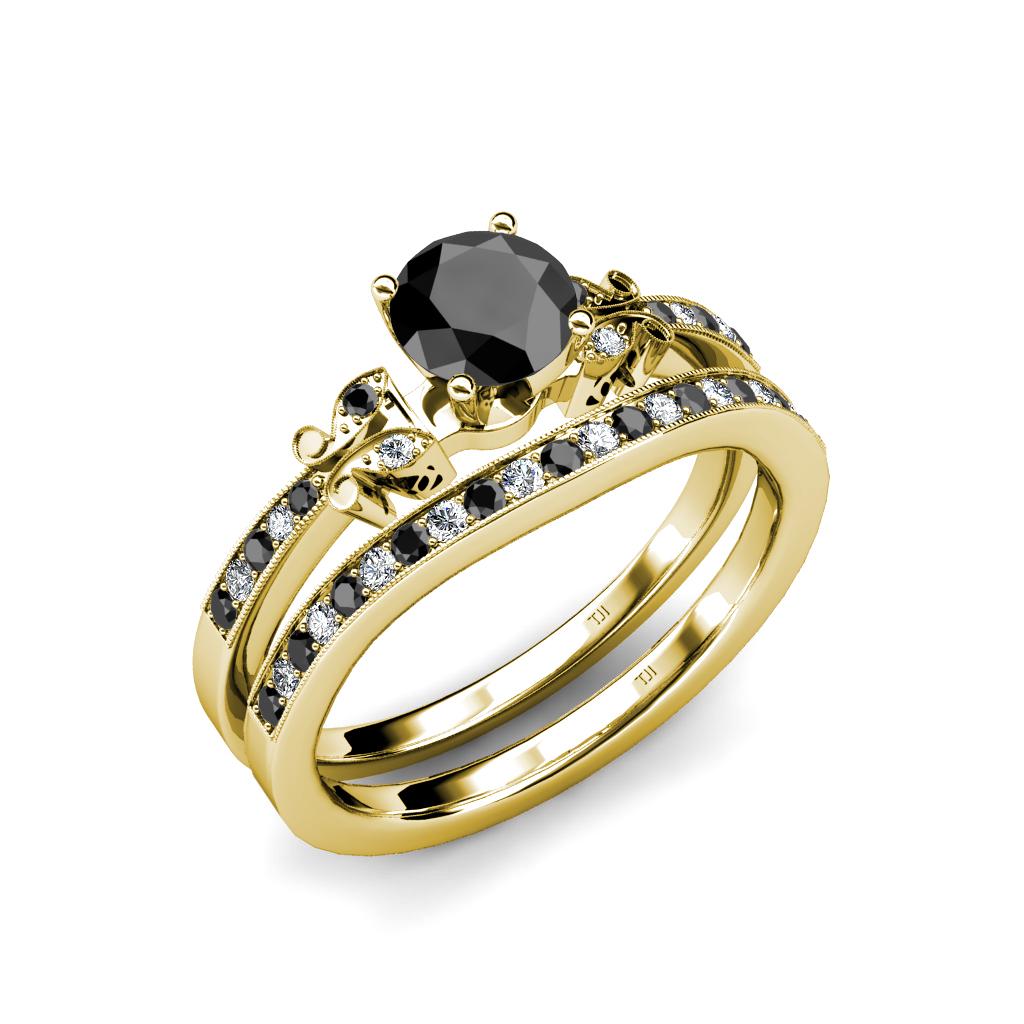 Black white diamond milgrain work bridal set ring for Work wedding rings