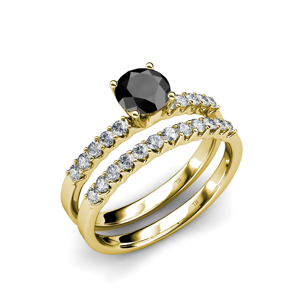 Black and White Diamond Halo Bridal Set Ring & Wedding Band in 14K &
