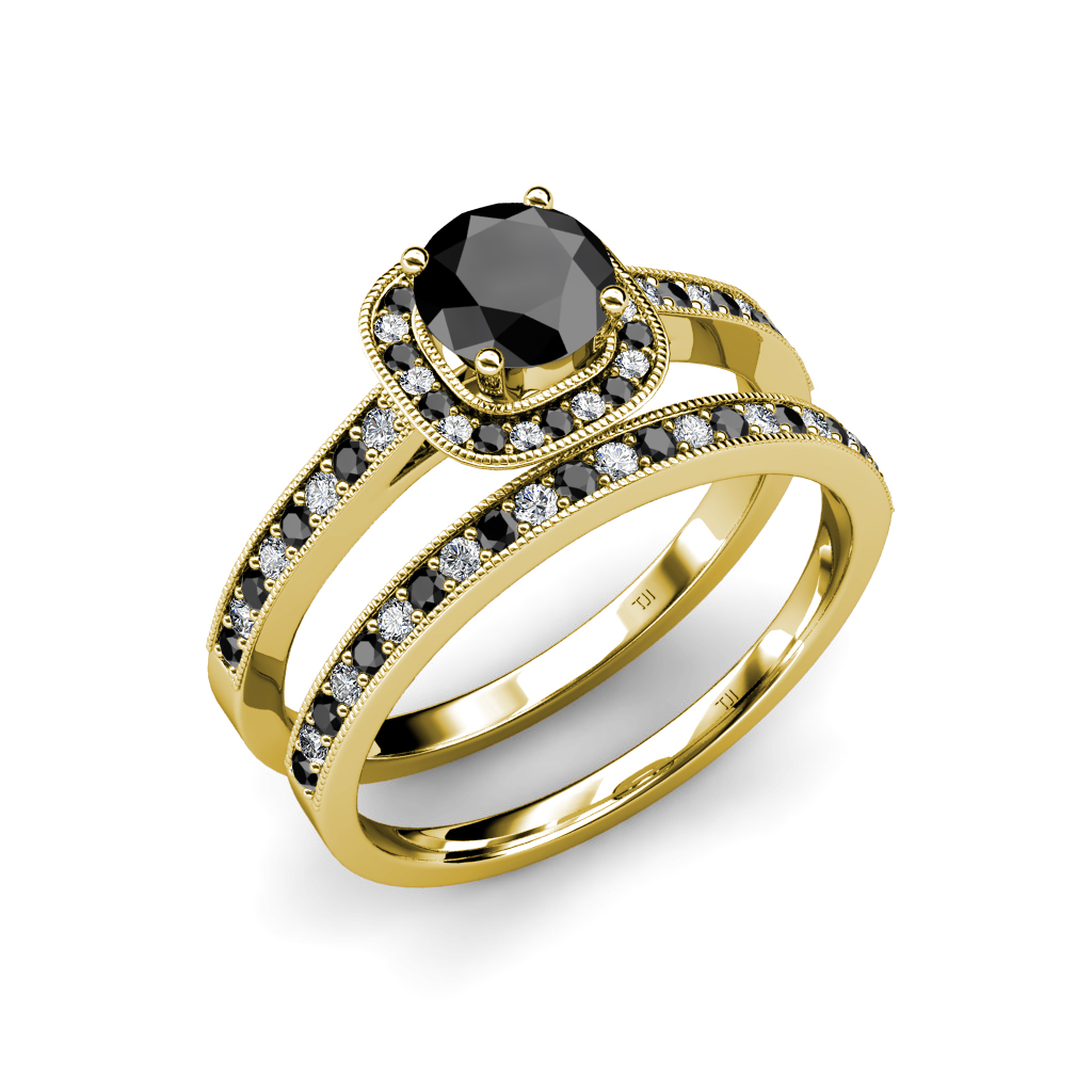 Black and White Diamond Bridal Set Ring 2 05 ct tw in 14K & 18K Gold