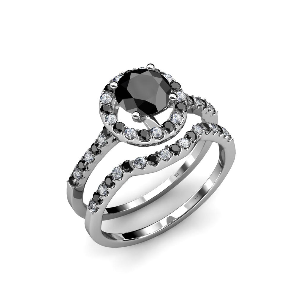 Black And White Diamond Halo Bridal Set Ring 1.95 Ct Tw In