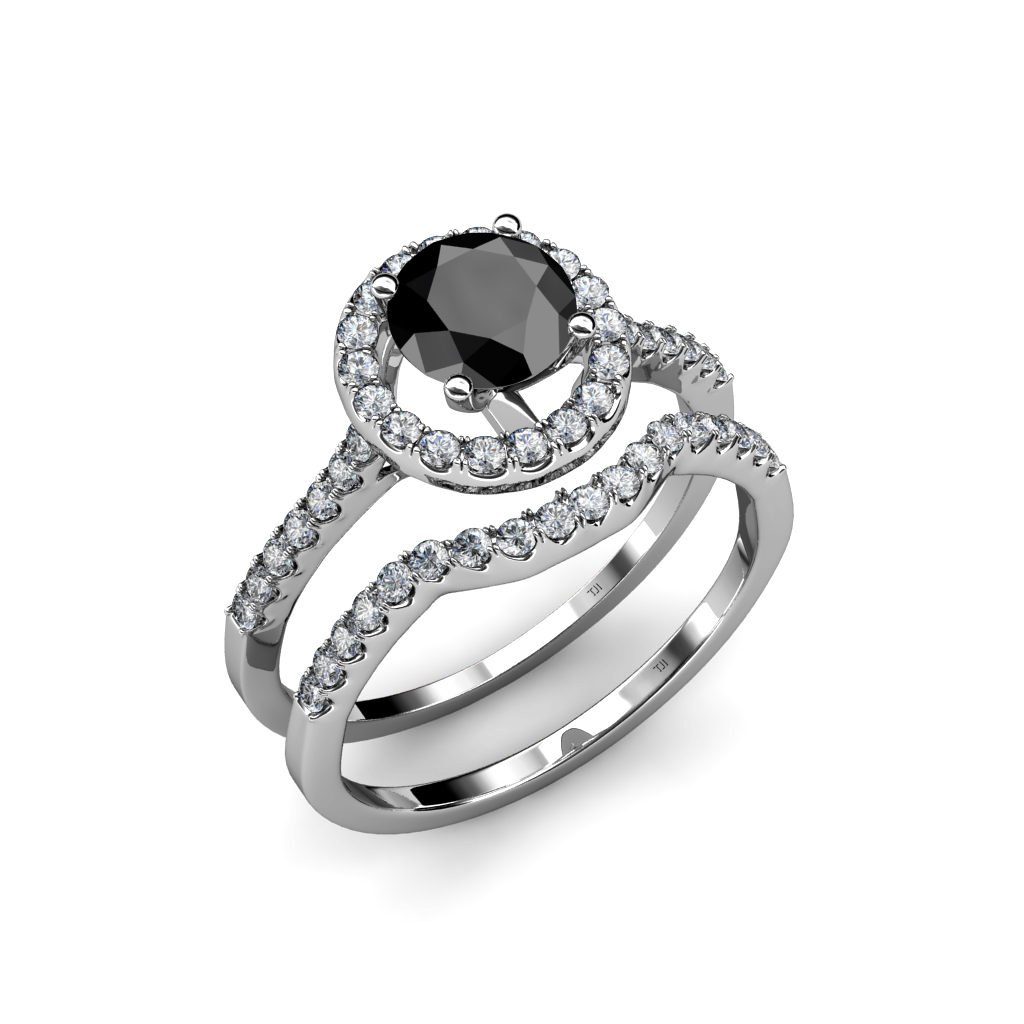 1 45 ct tw Black & White Diamond Halo Bridal Set Ring & Wedding Band