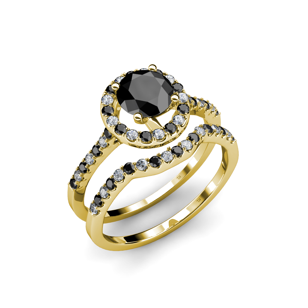 Black and White Diamond Halo Bridal Set Ring 1 95 ct tw in 14K & 18K Gold