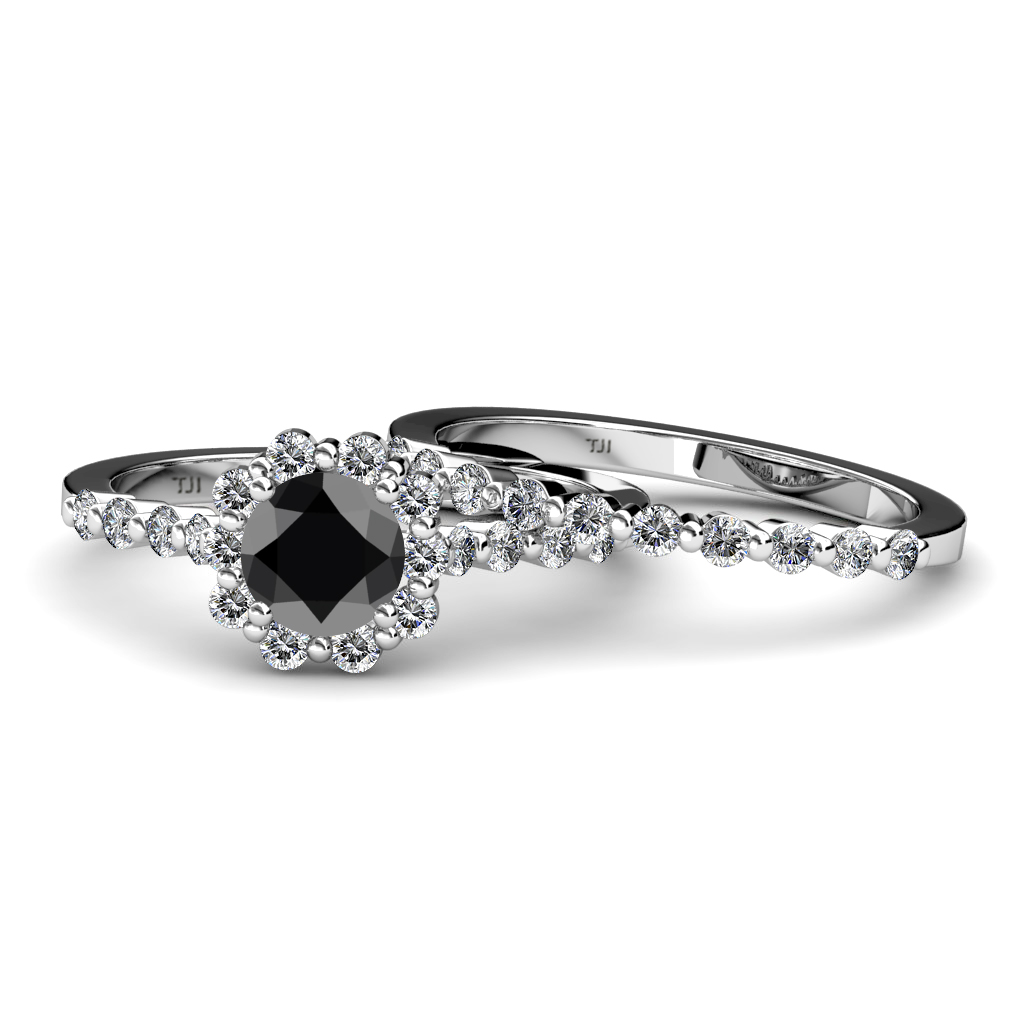 Black & White Diamond Halo Bridal Set Ring & Wedding Band 1 55 ct tw