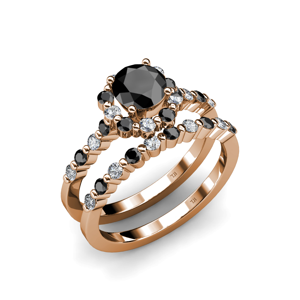 Black & White Diamond Halo Bridal Ring & Wedding Band Set in Gold Jp
