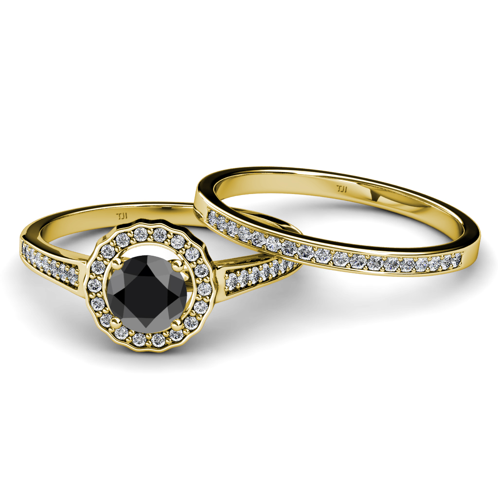 Black & White Diamond Halo Bridal Set Ring & Wedding Band 1 40 ct tw