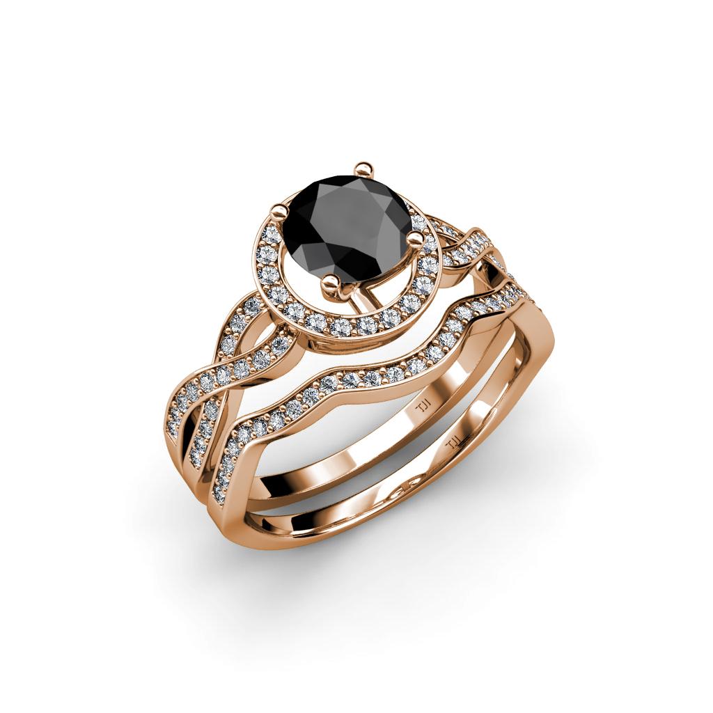Black Amp White Diamond Halo Swirl Bridal Set Ring Amp Wedding Band In 14K Gold