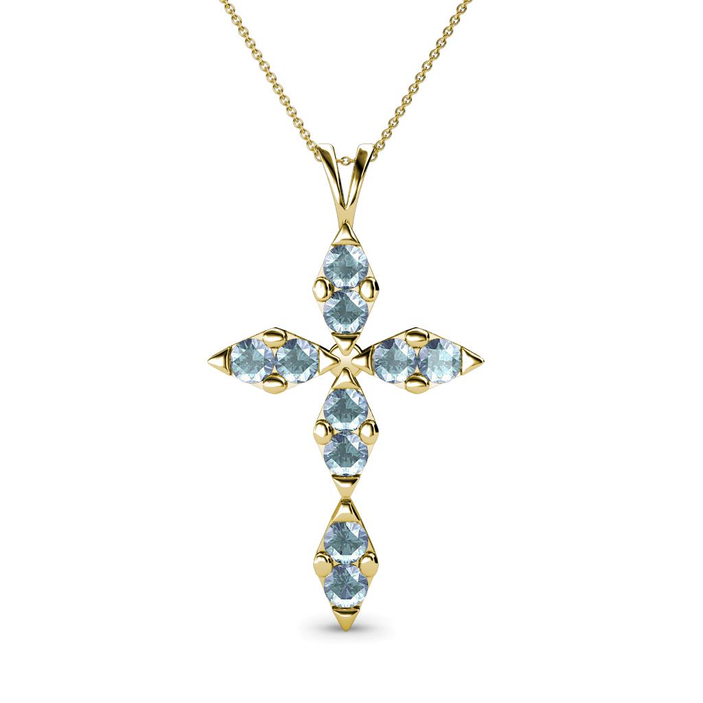 aquamarine cross pendant 0 42 ct tw 14k gold included 18