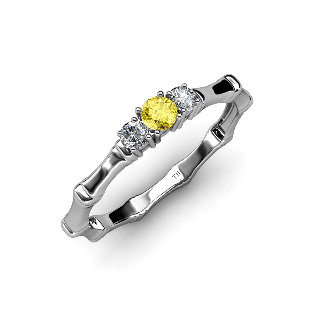 Yellow Sapphire with Side Diamond 3 Stone Bamboo Ring 0.25 ct tw in 14K Gold