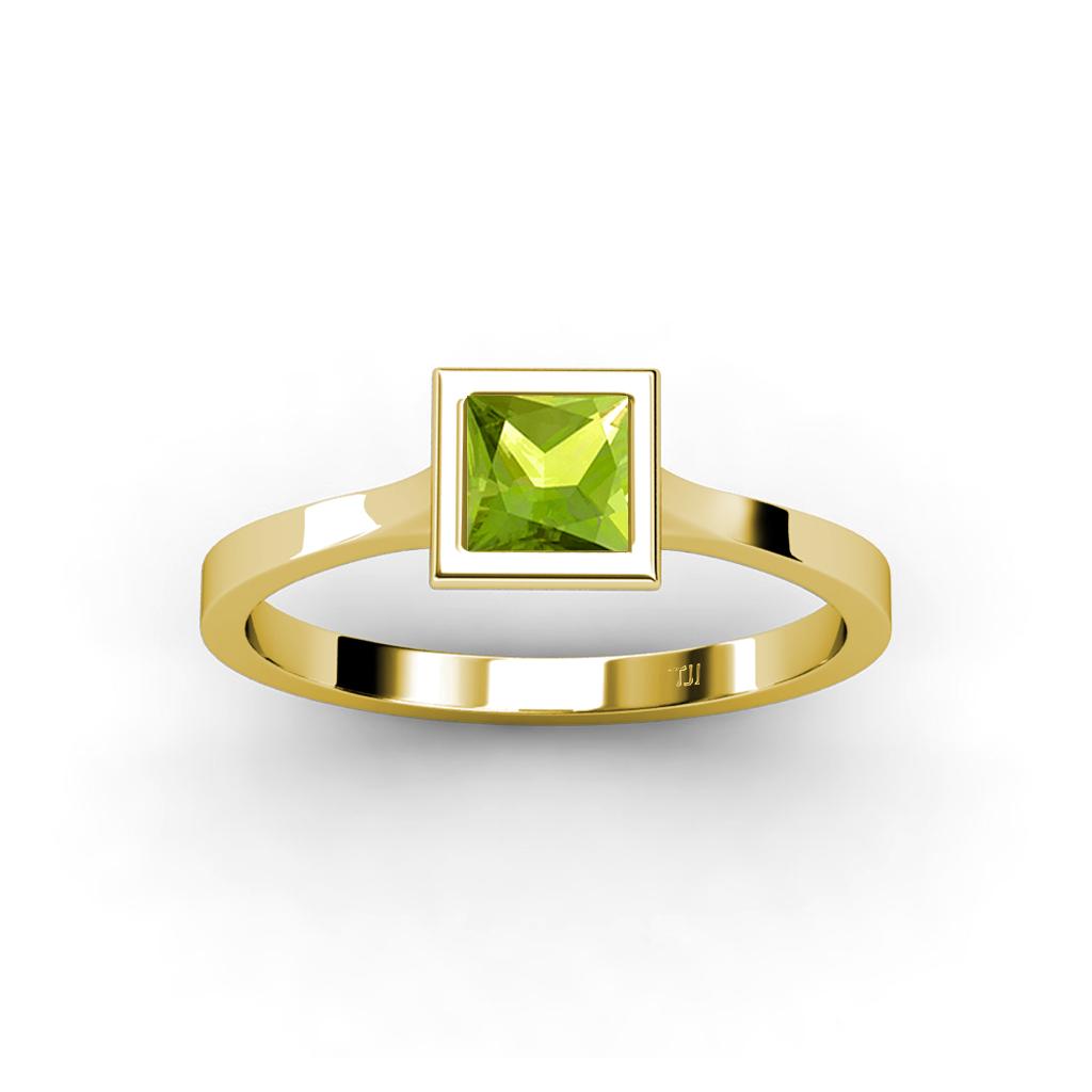 peridot princess cut floating solitaire ring 1 05ct