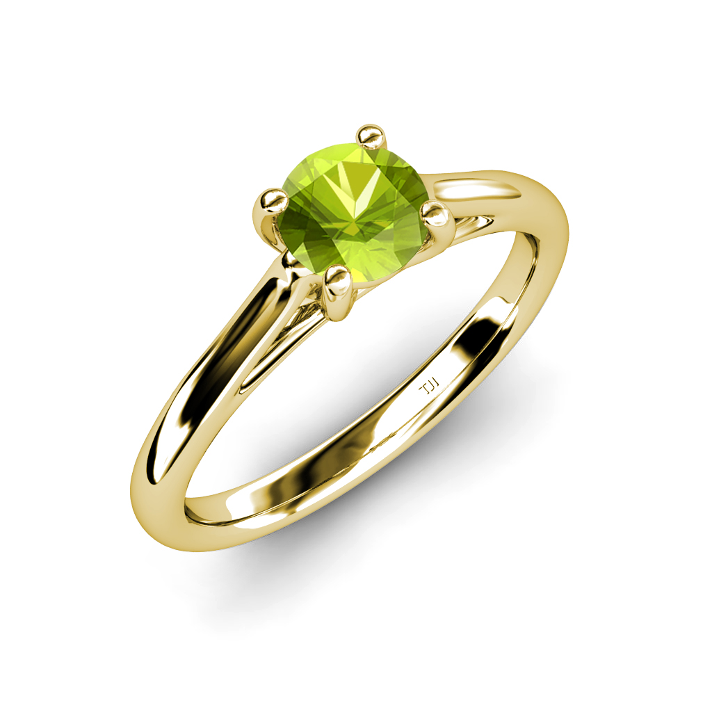peridot solitaire engagement ring ct in 14k gold jp. Black Bedroom Furniture Sets. Home Design Ideas