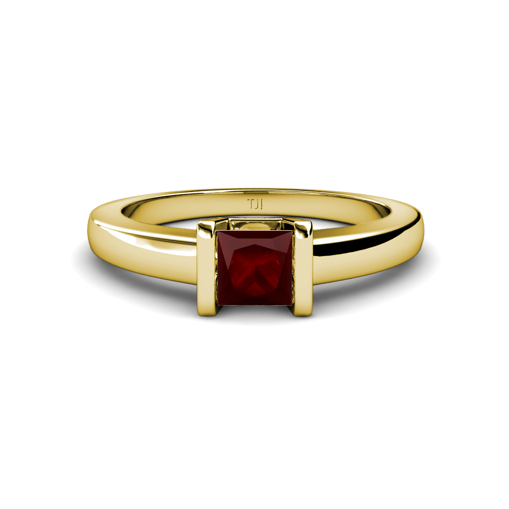 garnet princess cut channel set solitaire ring 1 05 ct