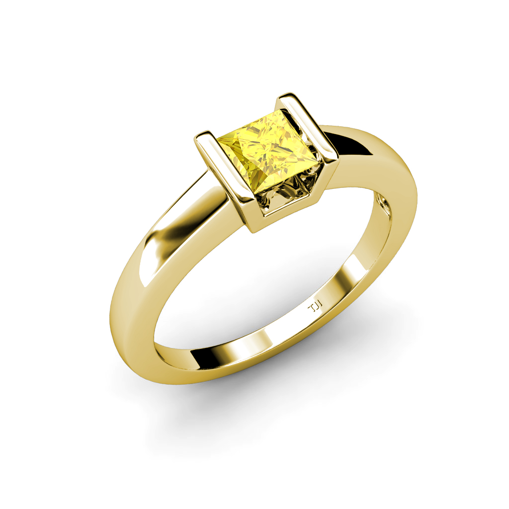lab created yellow sapphire princess cut solitaire ring 0. Black Bedroom Furniture Sets. Home Design Ideas