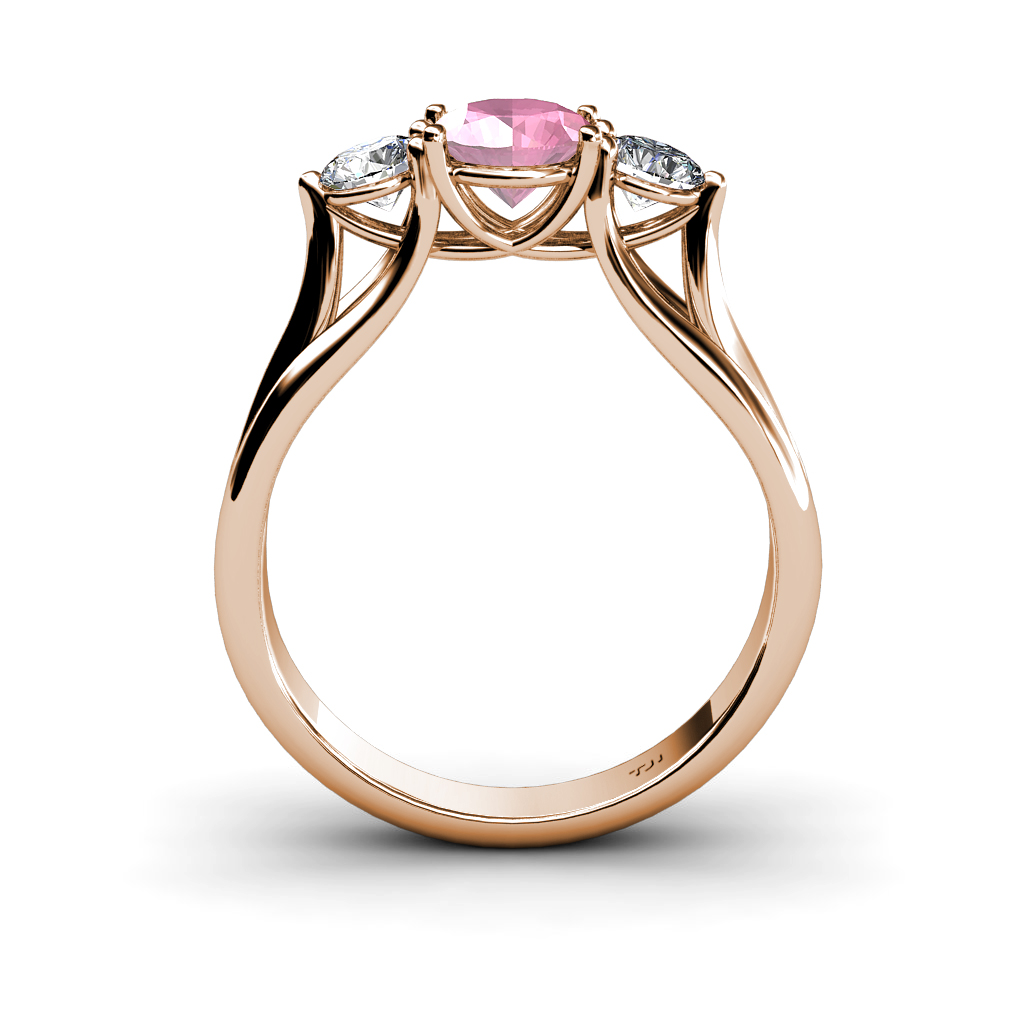 Pink Tourmaline & Diamond Three Stone Ring with Thick Shank in 14K Gold J