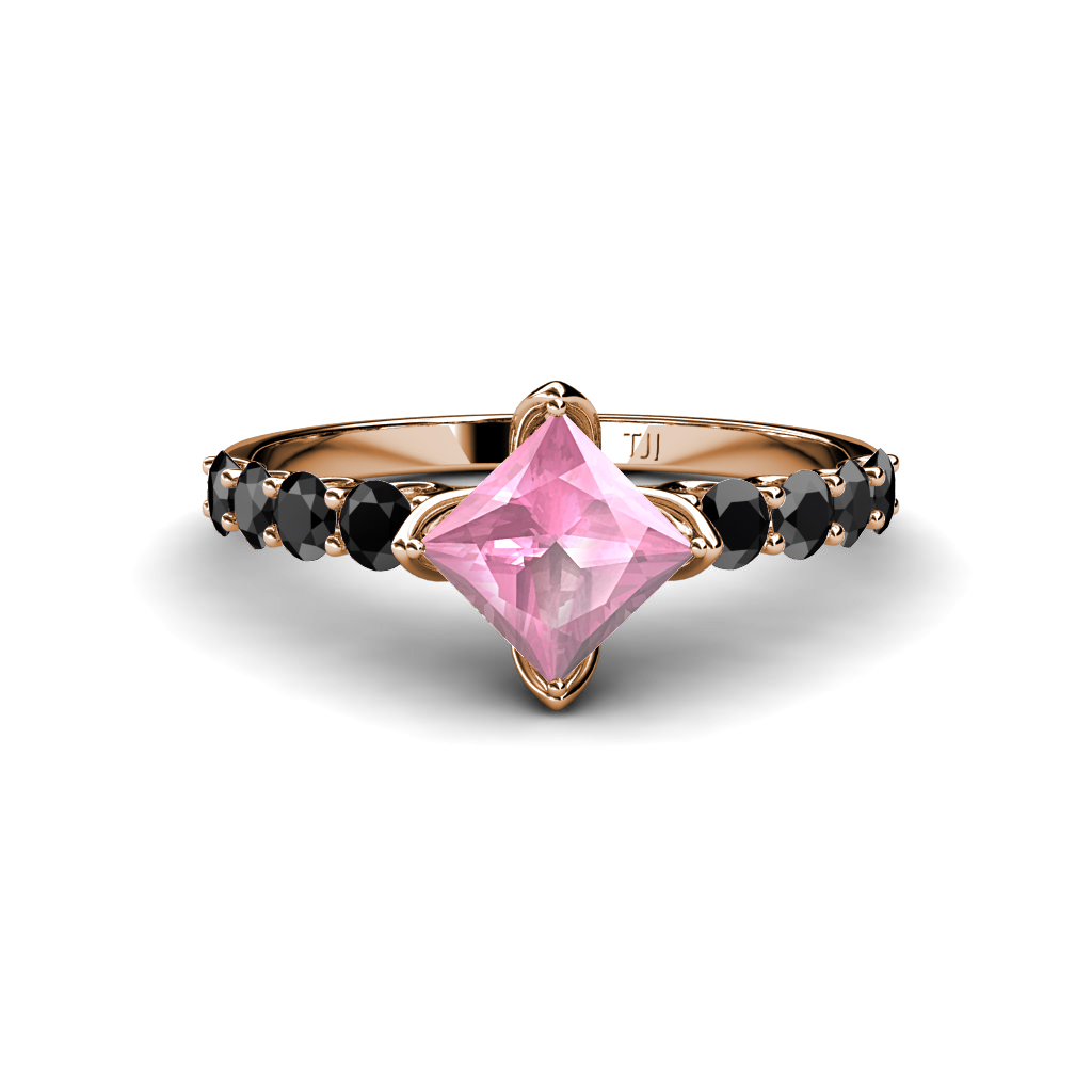 Created pink tourmaline princess cut black diamond for Princess cut pink diamond wedding rings