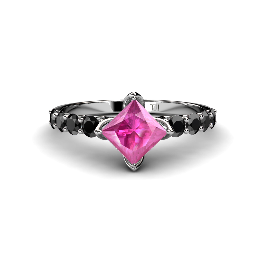 Lab Created Pink Sapphire Princess Cut & Black Diamond Engagement Ring 14