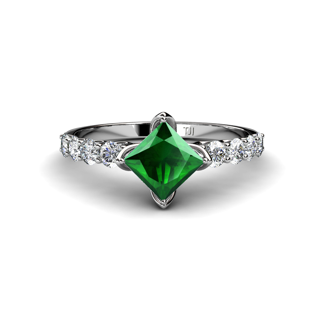 Lab Created Emerald Princess Cut and Diamond Engagement Ring 1 38ct tw 14K Go
