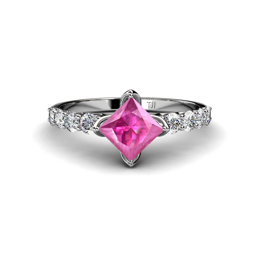 lab created pink sapphire princess cut side