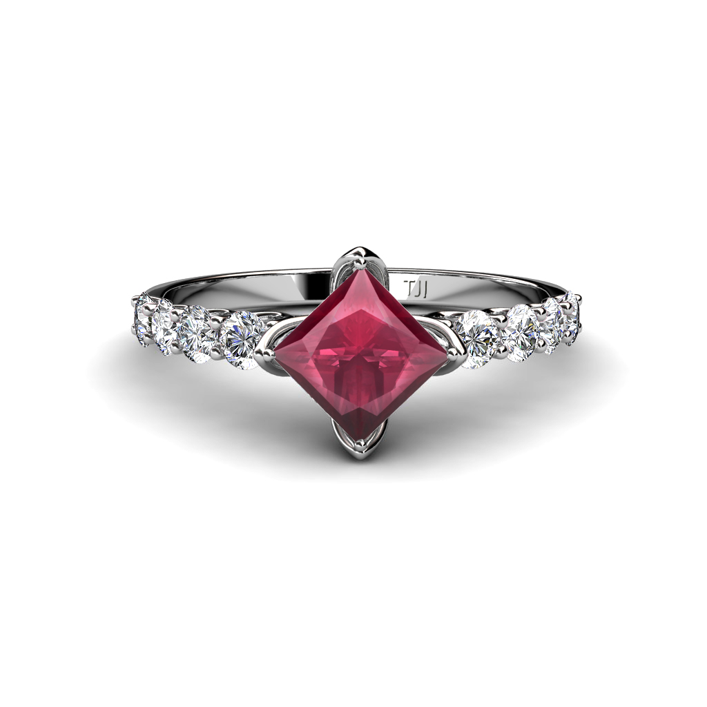 rhodolite garnet princess cut side engagement