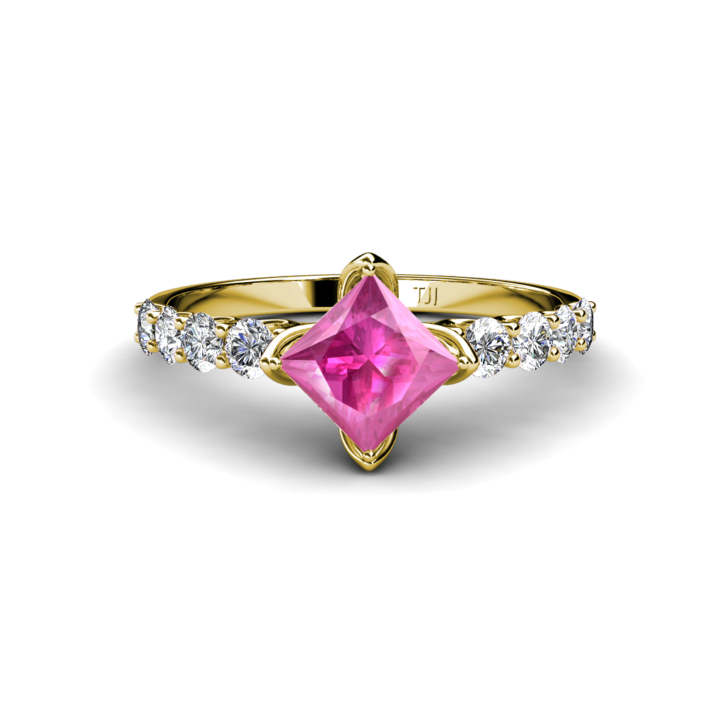 Lab created pink sapphire princess cut side diamond for Princess cut pink diamond wedding rings