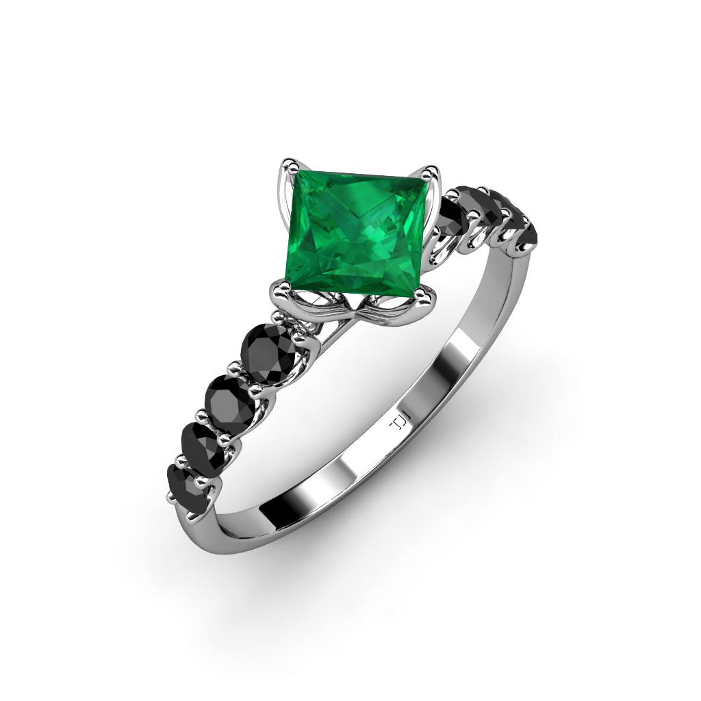 lab created emerald princess cut black