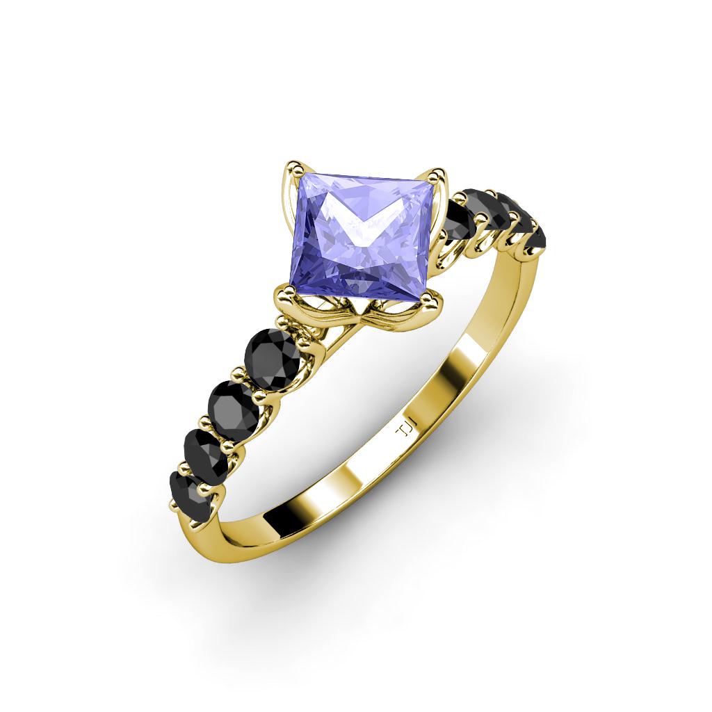 tanzanite princess cut and side black engagement