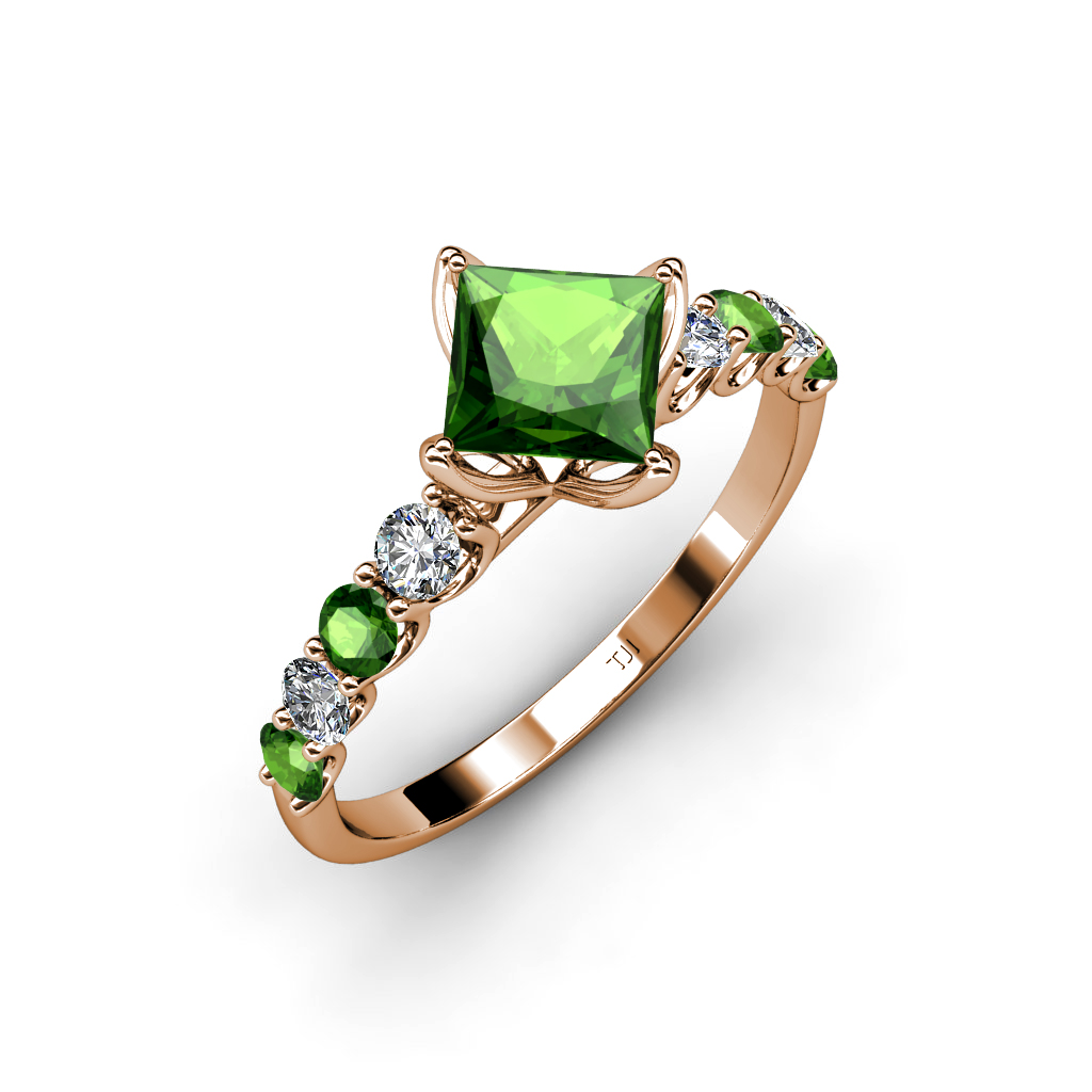 Lab Created Green Garnet Princess Cut & Side Diamond Engagement Ring 14K