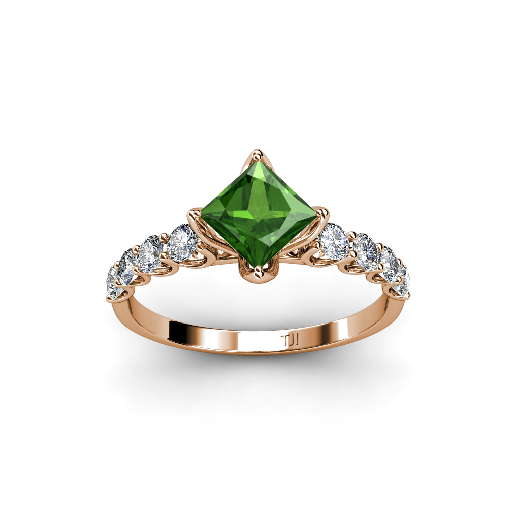 lab created green garnet princess cut side