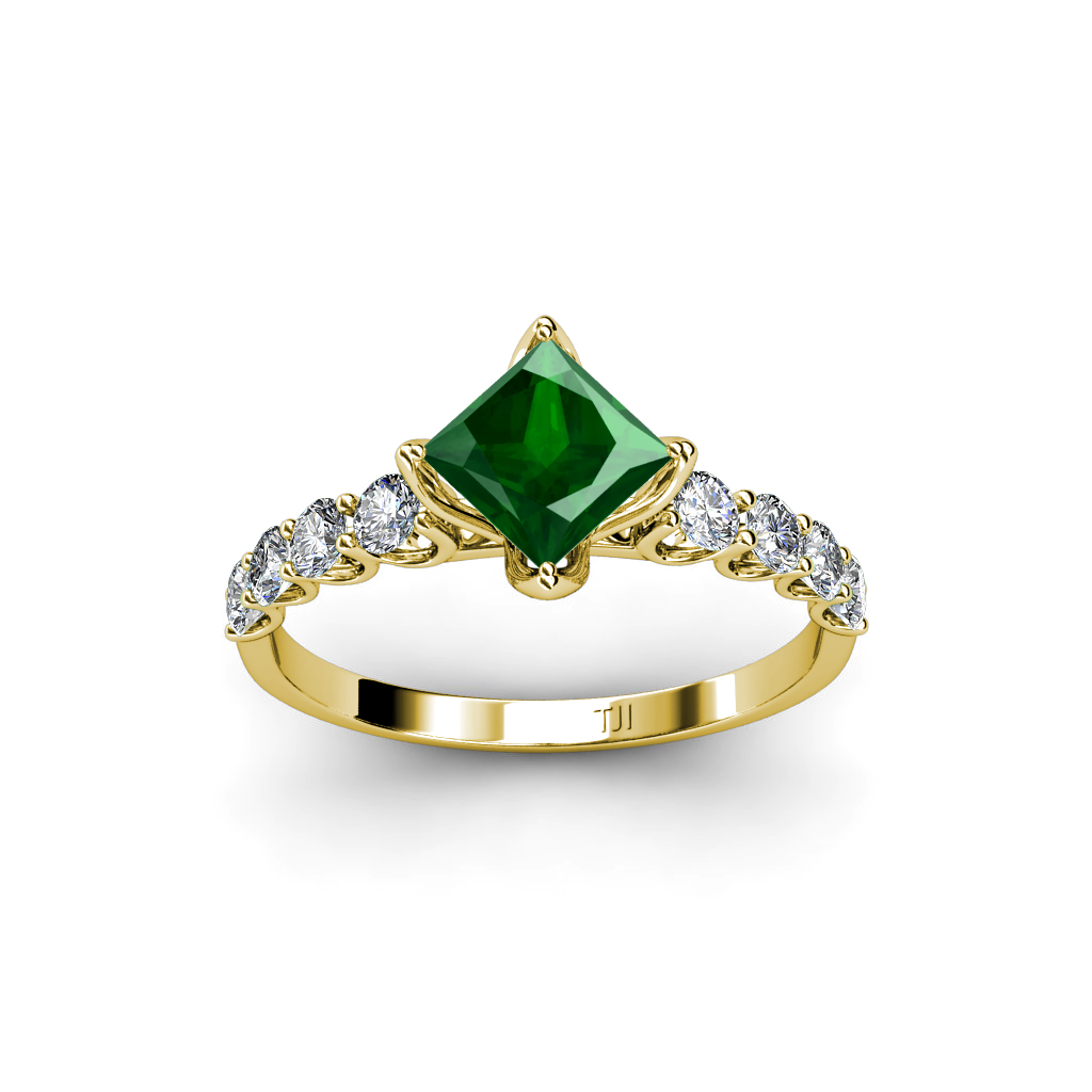 lab created emerald princess cut and engagement