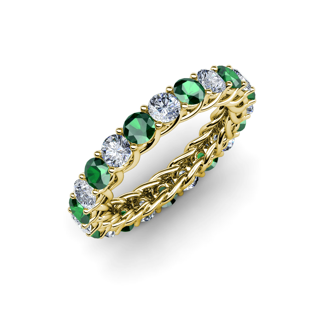 Emerald Diamond Eternity Band With Side Gallery 2 68 3 11