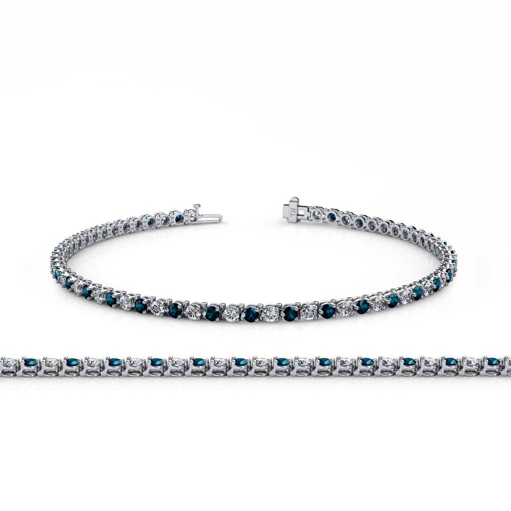 Blue And White Diamond 3 Prong Tennis Bracelet 3 20 Ct Tw
