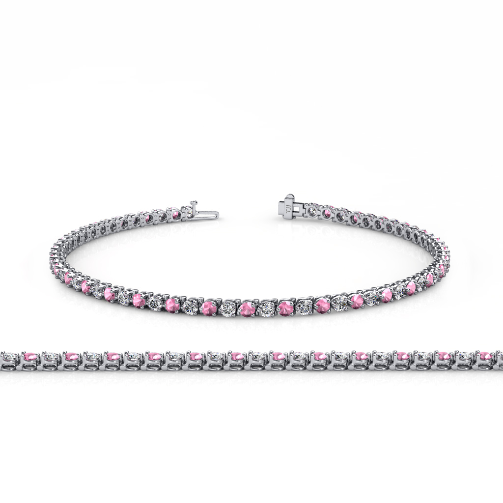 Pink Tourmaline & Diamond (SI2-I1, G-H) 3-Prong Tennis ...