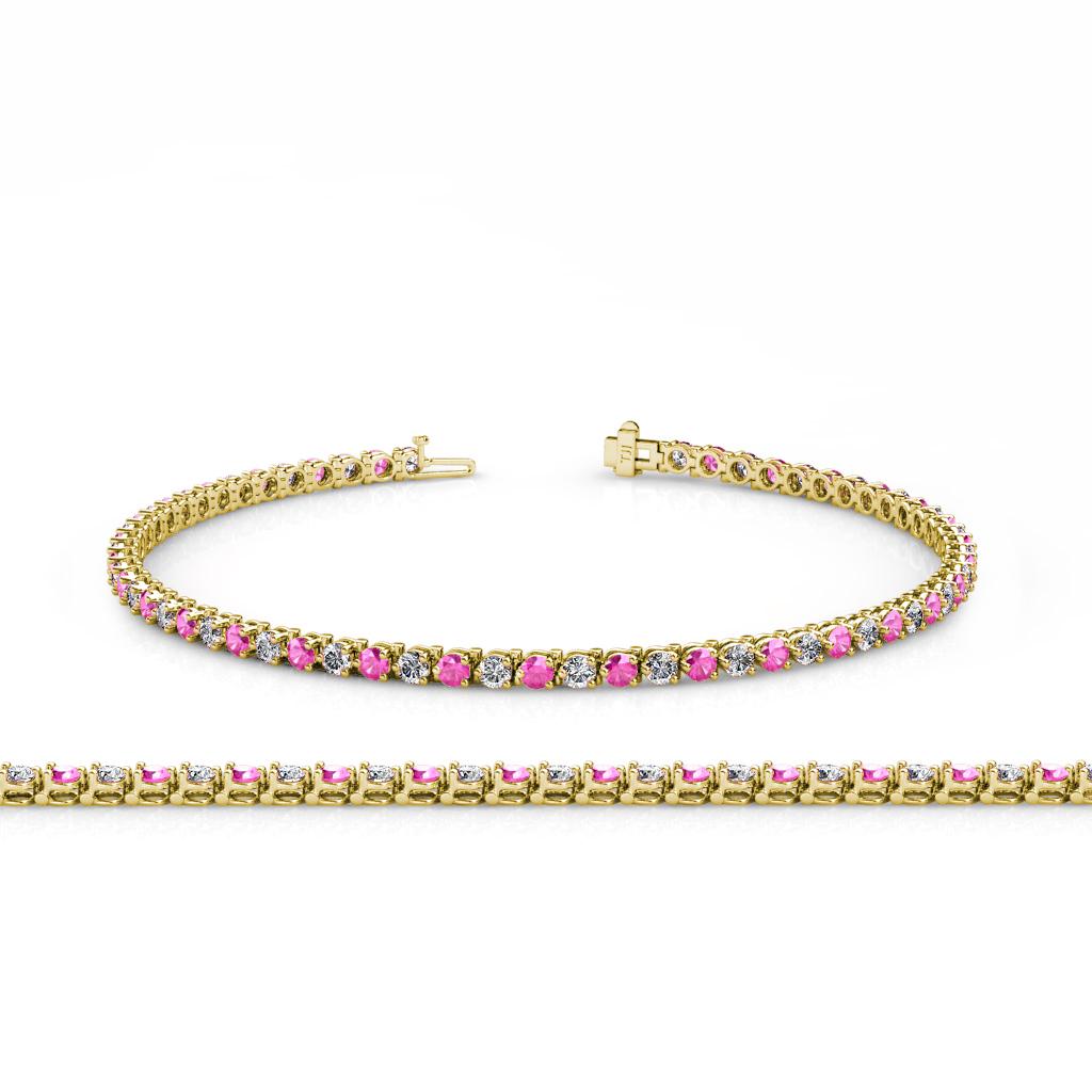 Pink Sapphire & Diamond (SI2-I1, G-H) 3-Prong Tennis ...